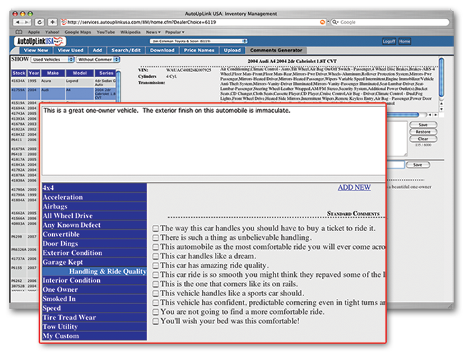 screenshot of the AutoUpLinkUSA Mid-Atlantic online inventory vehicle listing comments generator