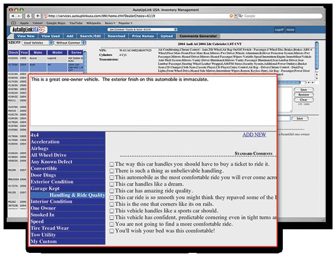 screenshot of the AutoUpLinkUSA Mid-Atlantic online inventory vehicle listing comments generator