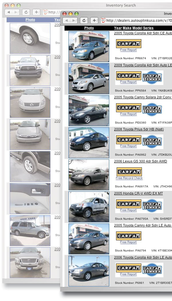 two images of an online inventory display highlighting proper consistent vehicle alignment